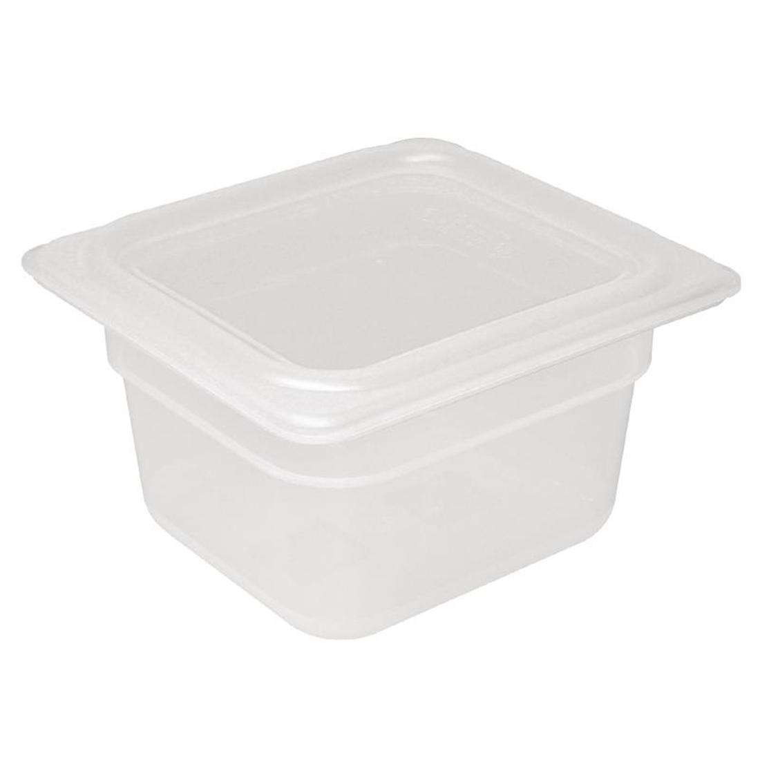Vogue Polypropylene 1/6 Gastronorm Container with Lid 100mm - Pack of 4 - GJ526