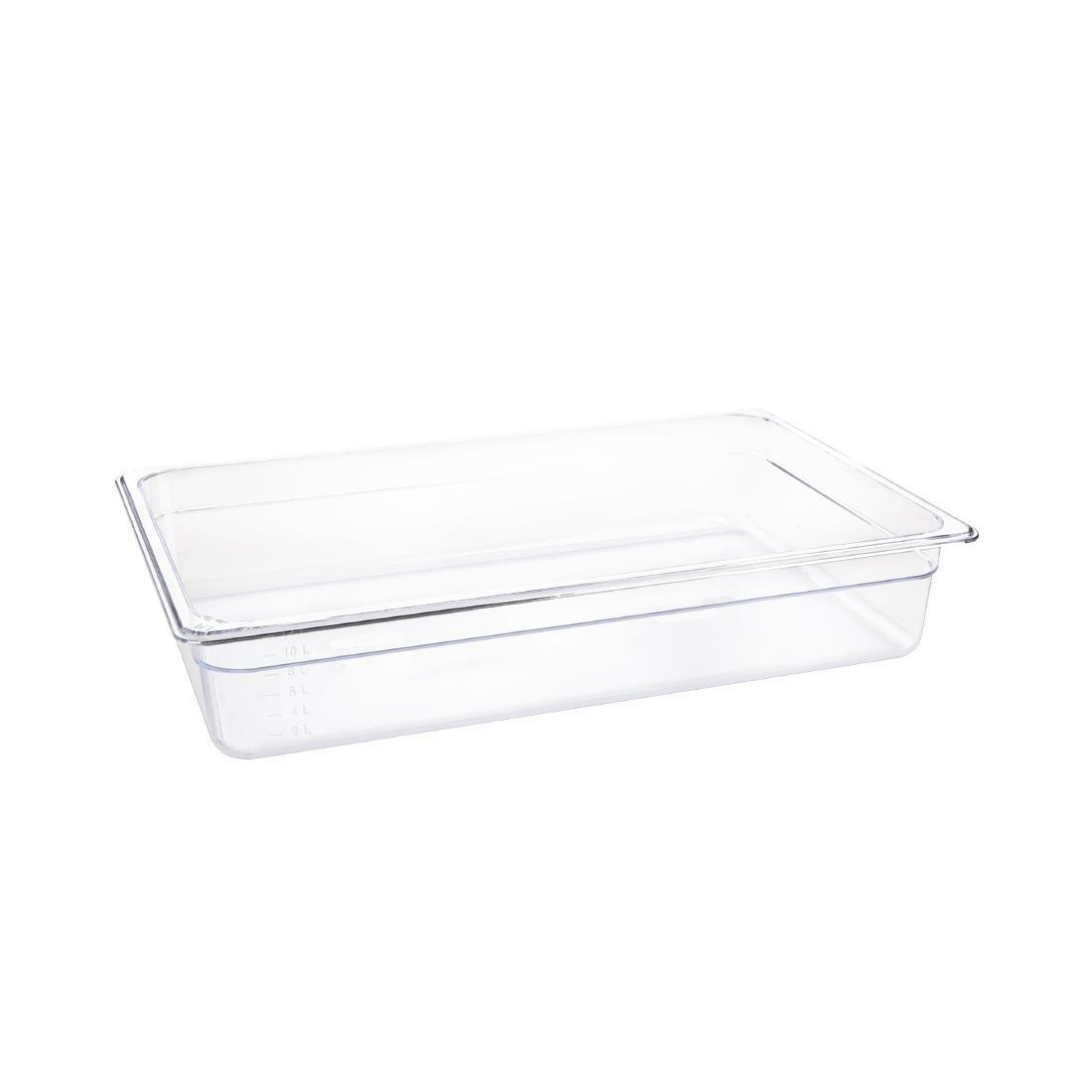 Vogue Polycarbonate 1/1 Gastronorm Container 100mm Clear - U225