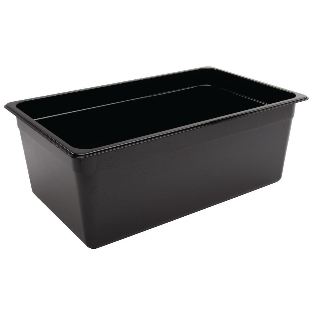 Vogue Polycarbonate 1/1 Gastronorm Container 200mm Black - U457