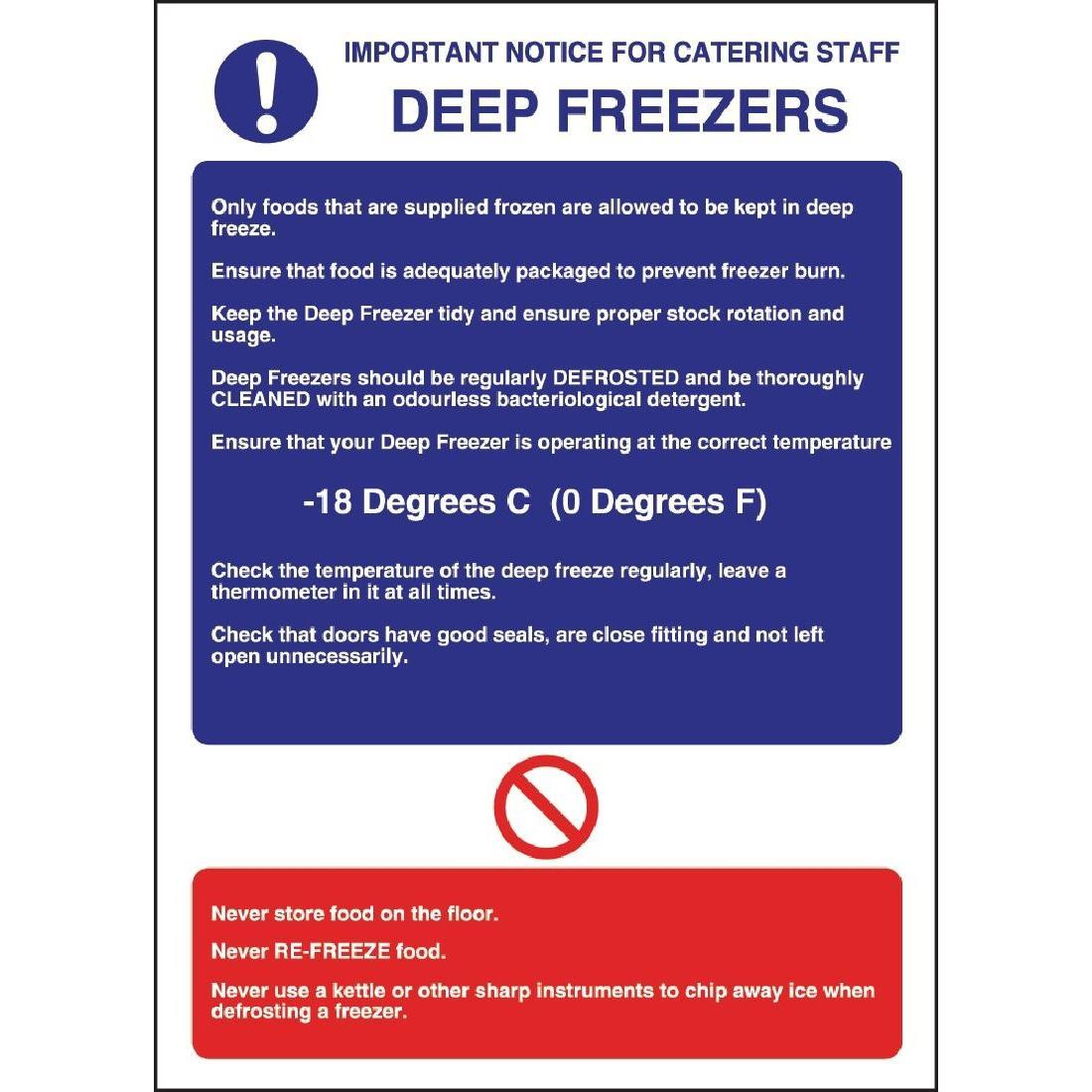 Vogue Deep Freezer Guidelines Sign - W195