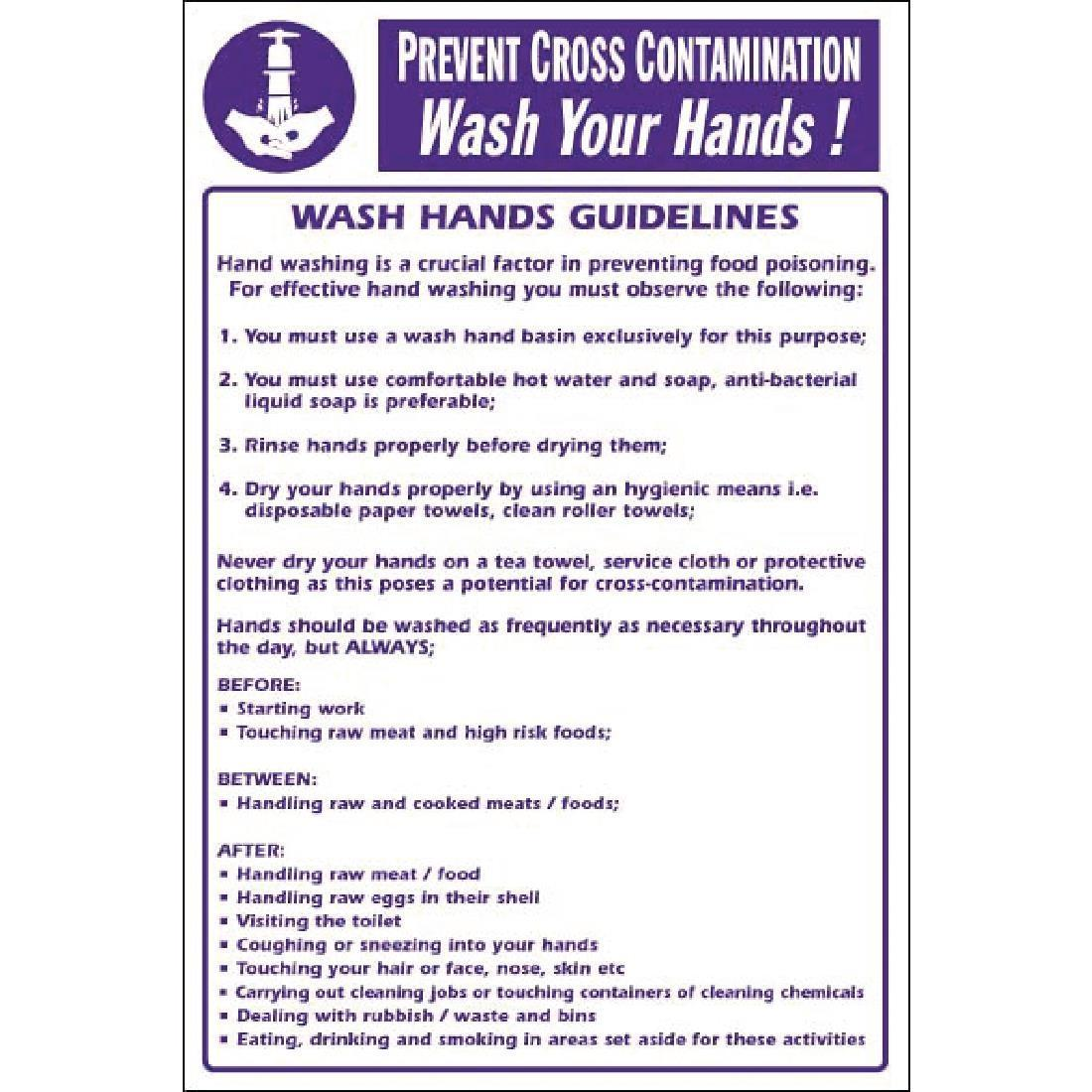 Vogue Prevent Cross Contamination Wash Hands Sign - Y909
