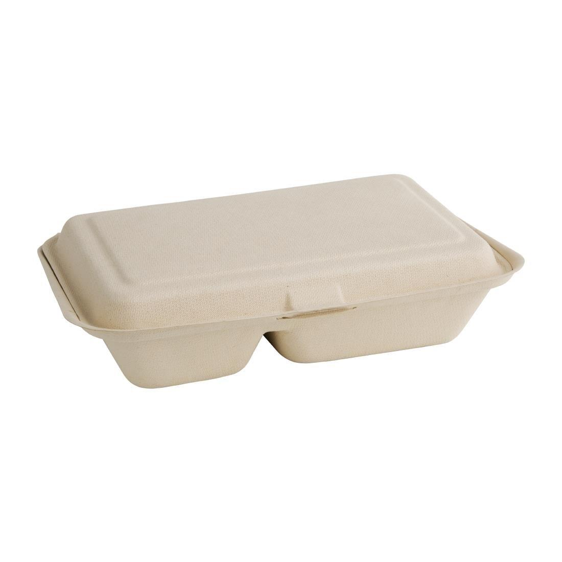 Pack of 250 Vegware VB12 bagasse clamshell 12 x 6