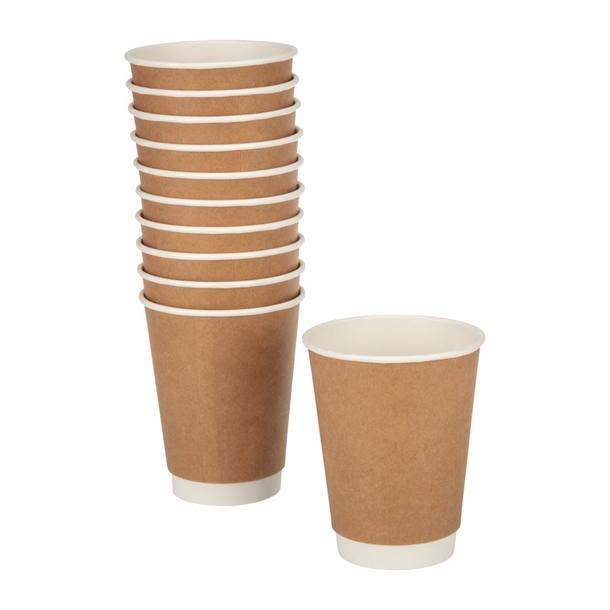 Fiesta Disposable Coffee Cups Double Wall Kraft 340ml 12oz