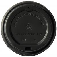 Compostable CPLA Black 10-20oz Sip Thru Lids