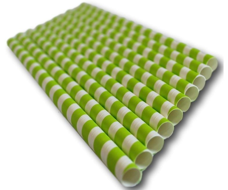Green Striped Compostable Paper Straw Small Bore 197x6mm