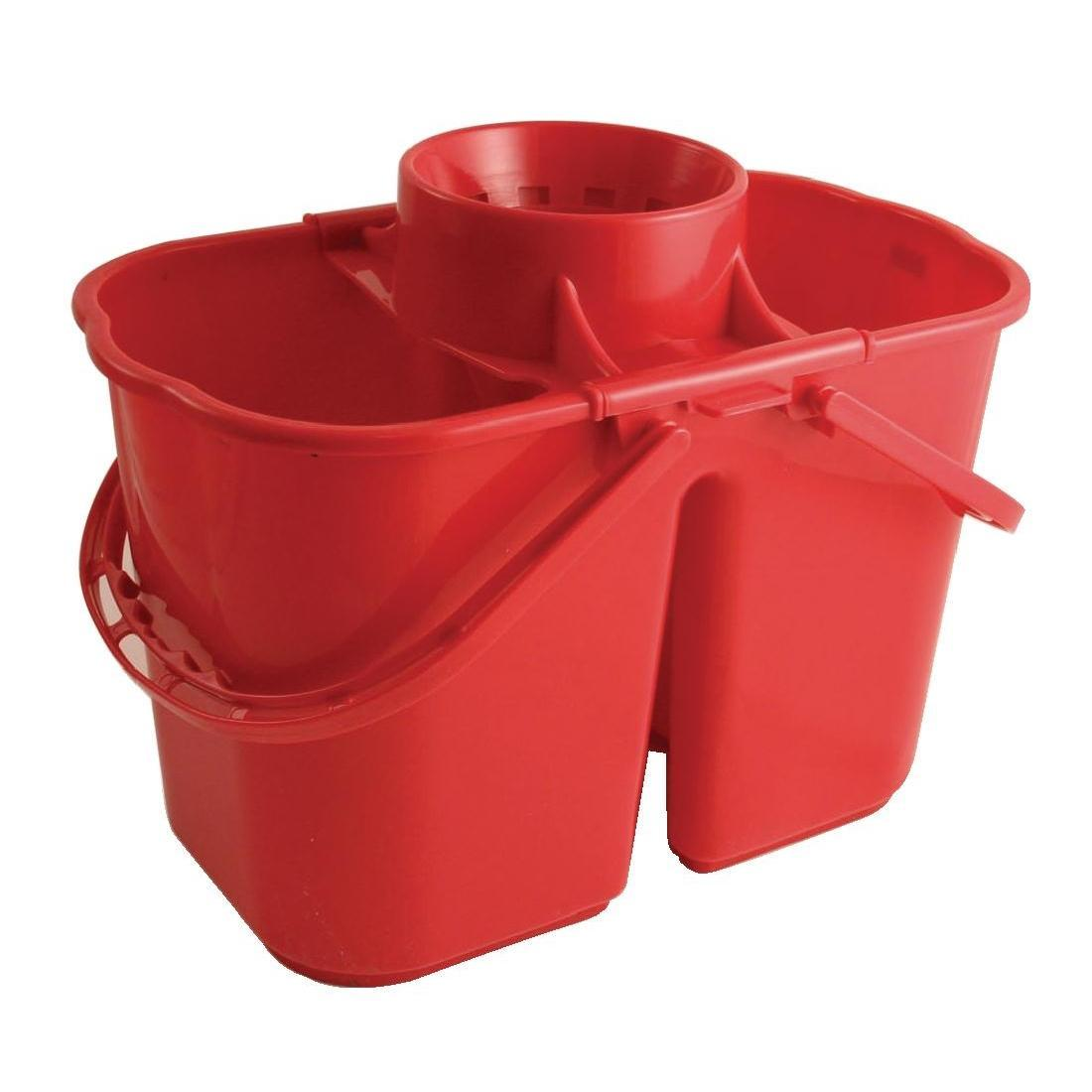 Jantex Colour Coded Twin Mop Buckets Red
