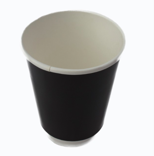 Black Hot Cups Double Wall 8oz Recyclable