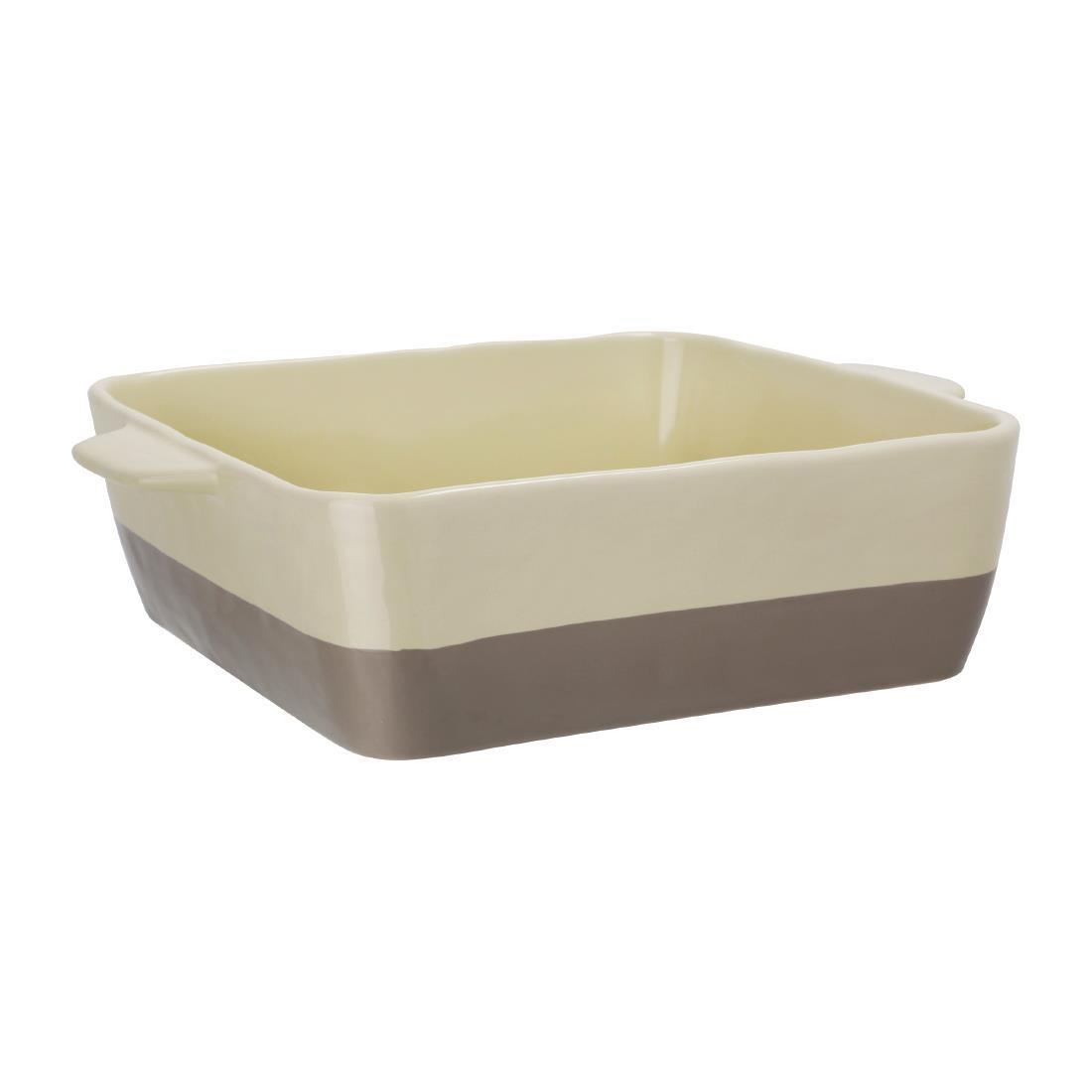 Olympia Cream And Taupe Ceramic Roasting Dish