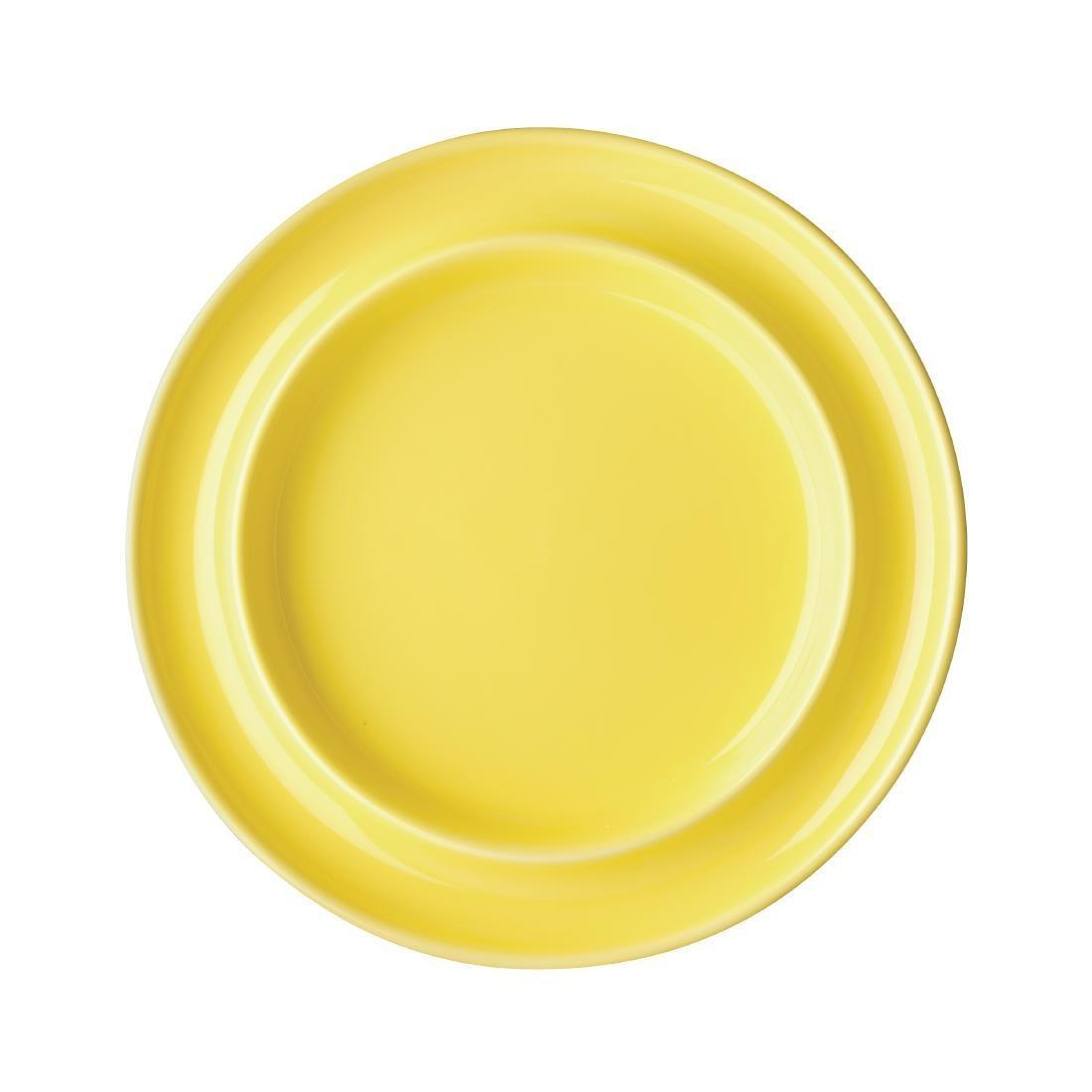 Olympia Heritage Raised Rim Plates Yellow 203mm