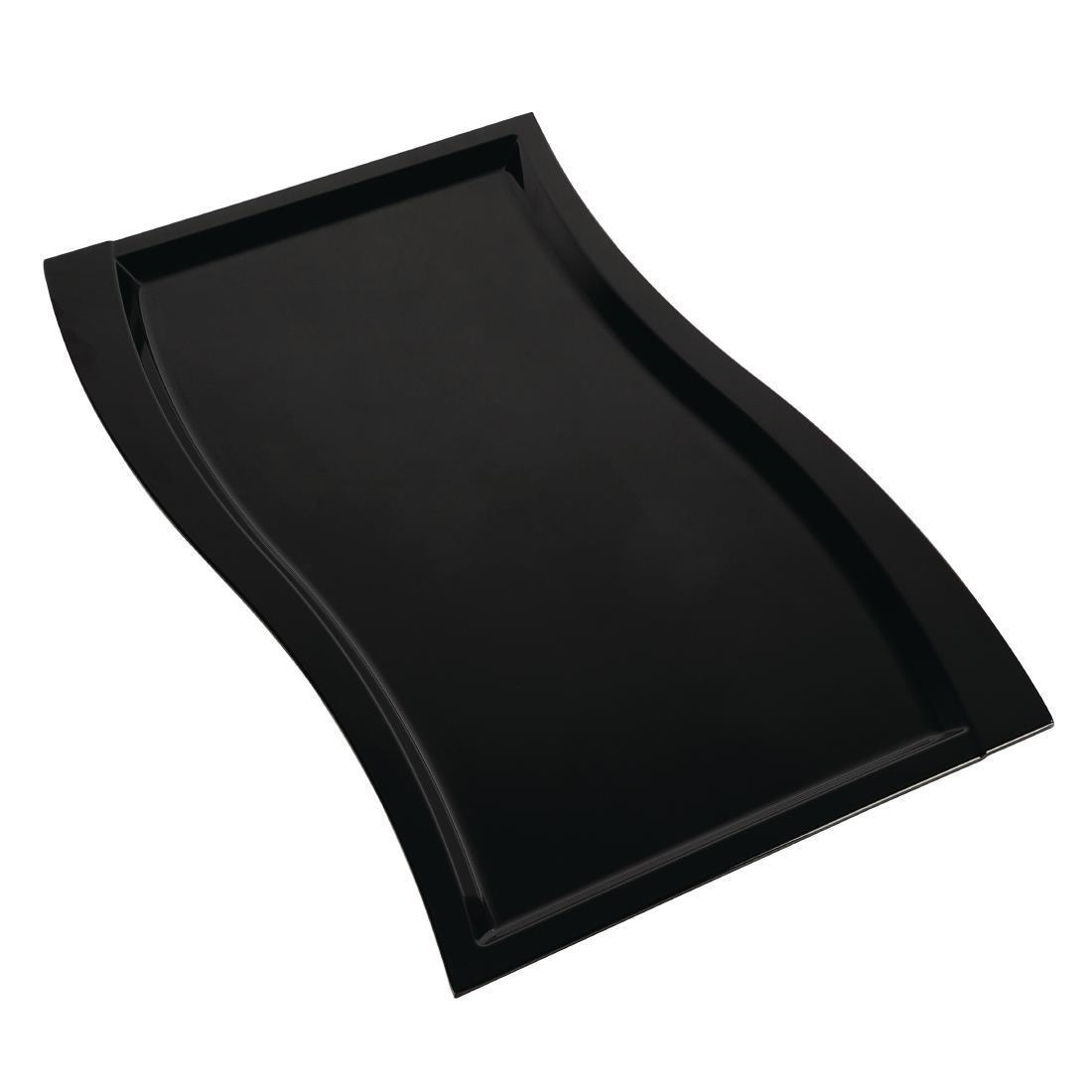 APS Wave Melamine Platter Black GN 1/1 - Each - GK828