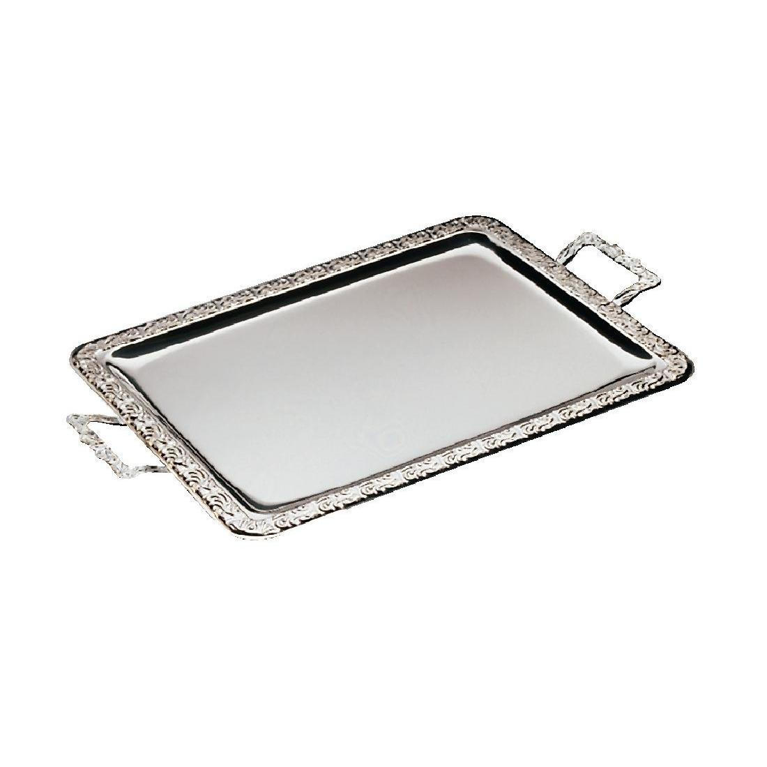 APS Stainless Steel Rectangular Handled Service Tray 600mm - Each - P004