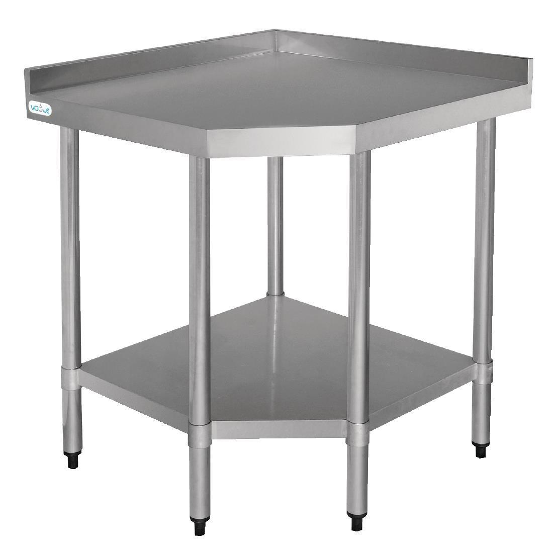 Vogue Stainless Steel Corner Table 600mm - Each - CB907