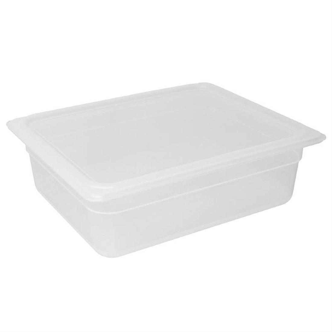 Vogue Polypropylene 1/2 Gastronorm Container with Lid 100mm - Pack of 4 - GJ515