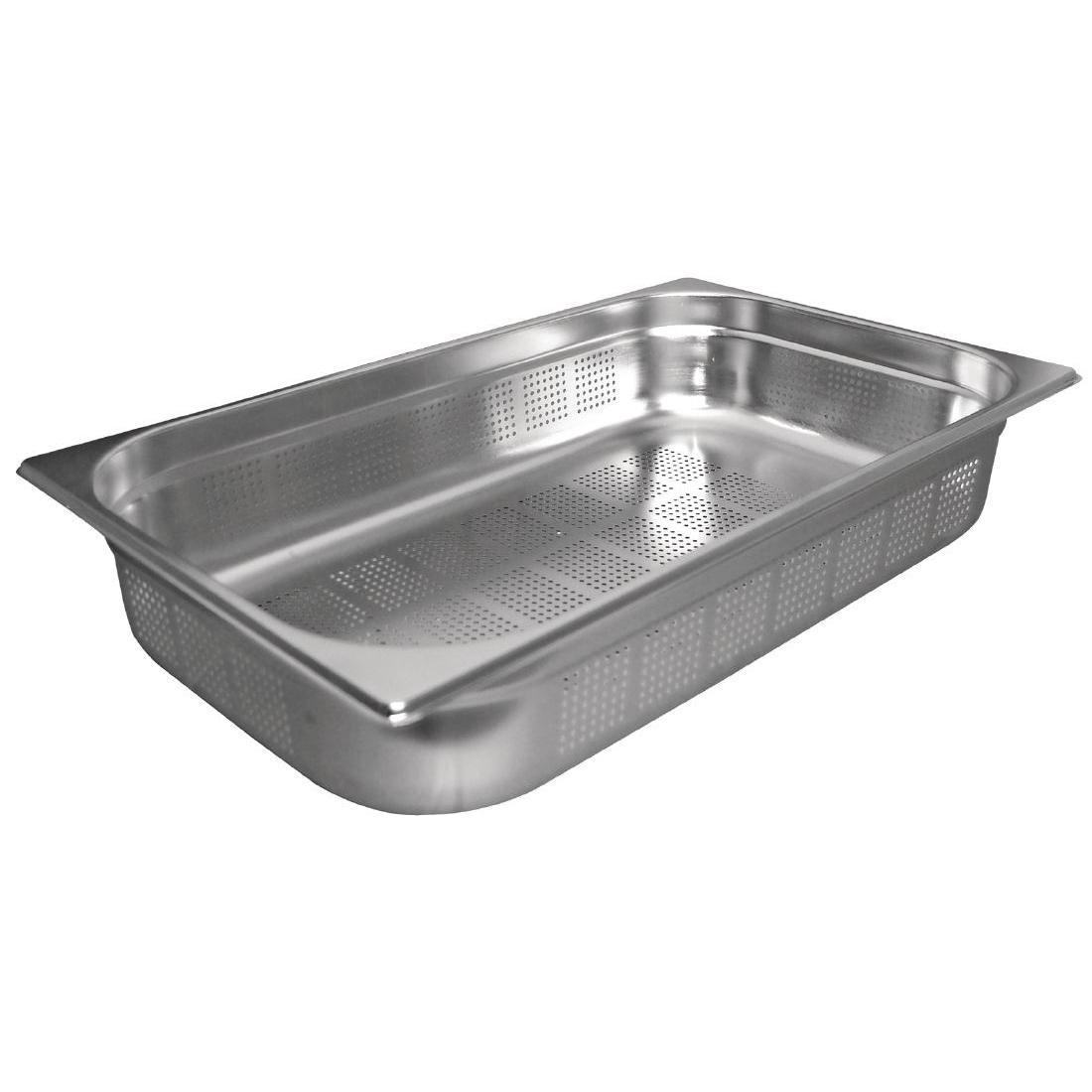 Vogue Stainless Steel Perforated 1/1 Gastronorm Pan 100mm - K841