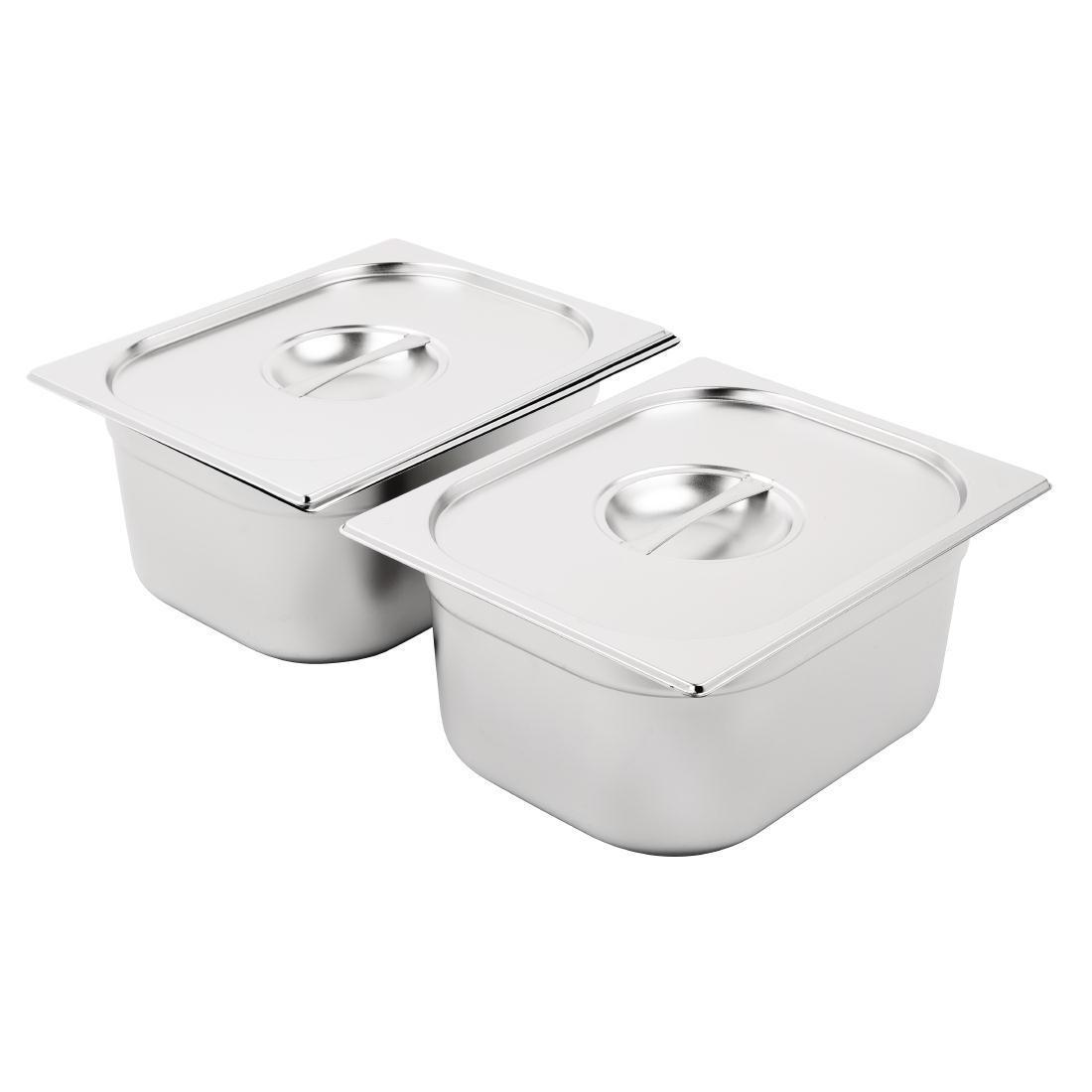 Vogue Stainless Steel Gastronorm Pan Set 2 x 1/2 with Lids - SA245