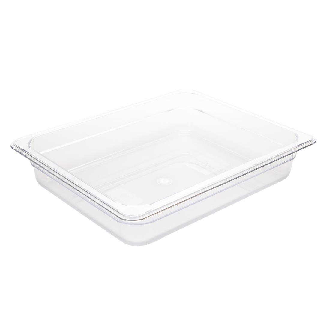 Vogue Polycarbonate 1/2 Gastronorm Container 65mm Clear - U228