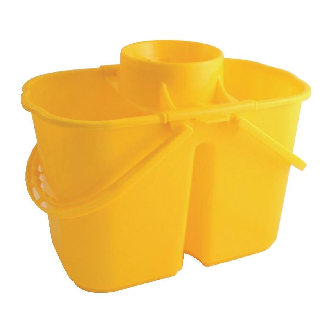 Jantex Colour Coded Twin Mop Buckets Yellow