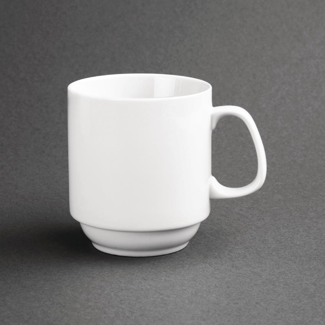 Olympia Whiteware Stacking Mugs 284ml 10oz