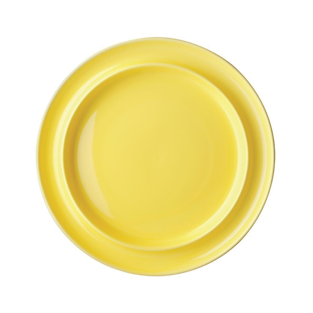 Olympia Heritage Raised Rim Plates Yellow 253mm
