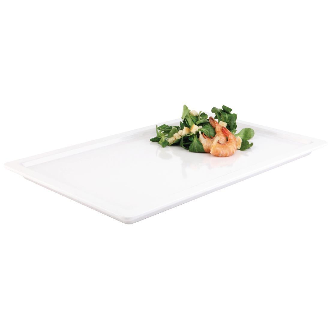 APS Apart Melamine Rectangular Buffet Tray White GN 1/1 - Each - GD100