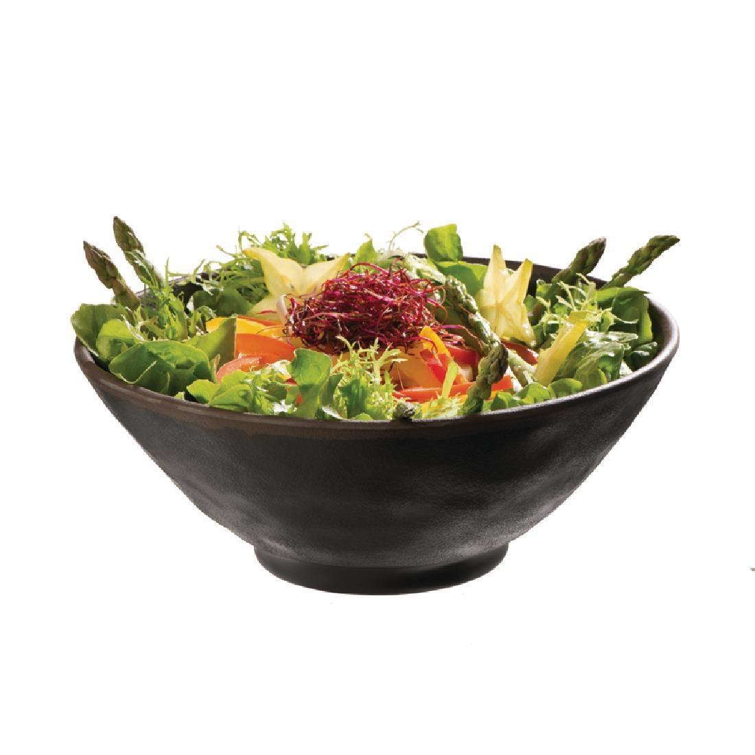 APS Marone Melamine Bowl Black 140mm - Each - GK842