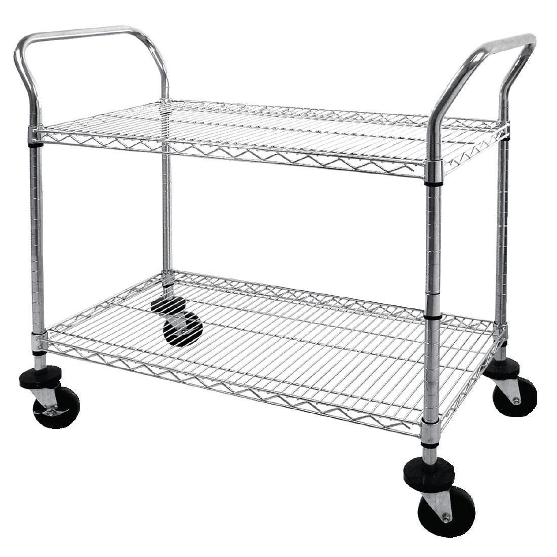 Vogue Chrome 2 Tier Wire Trolley - Each - CC430