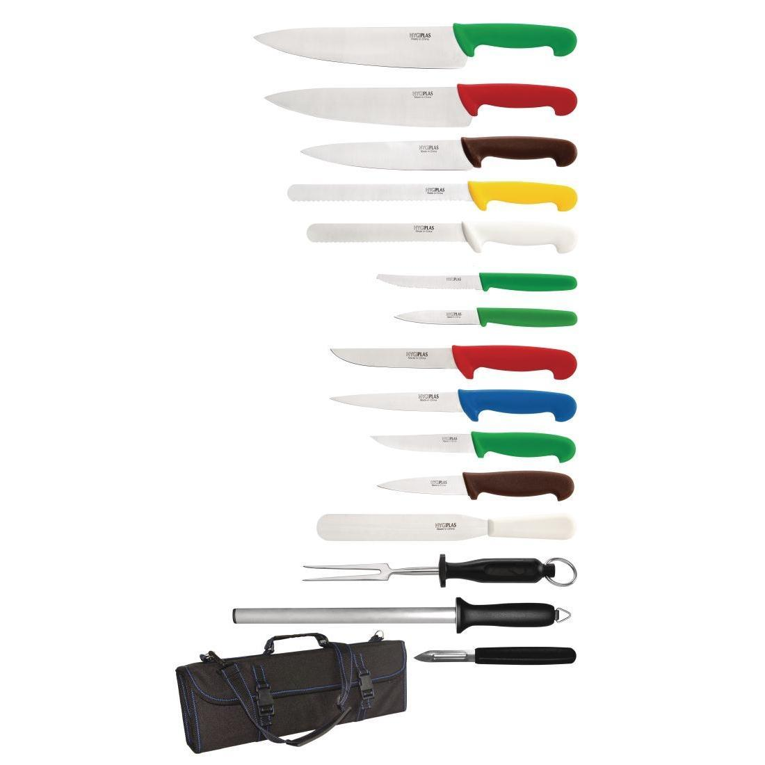 Hygiplas 15 Piece Knife Set with Carry Case