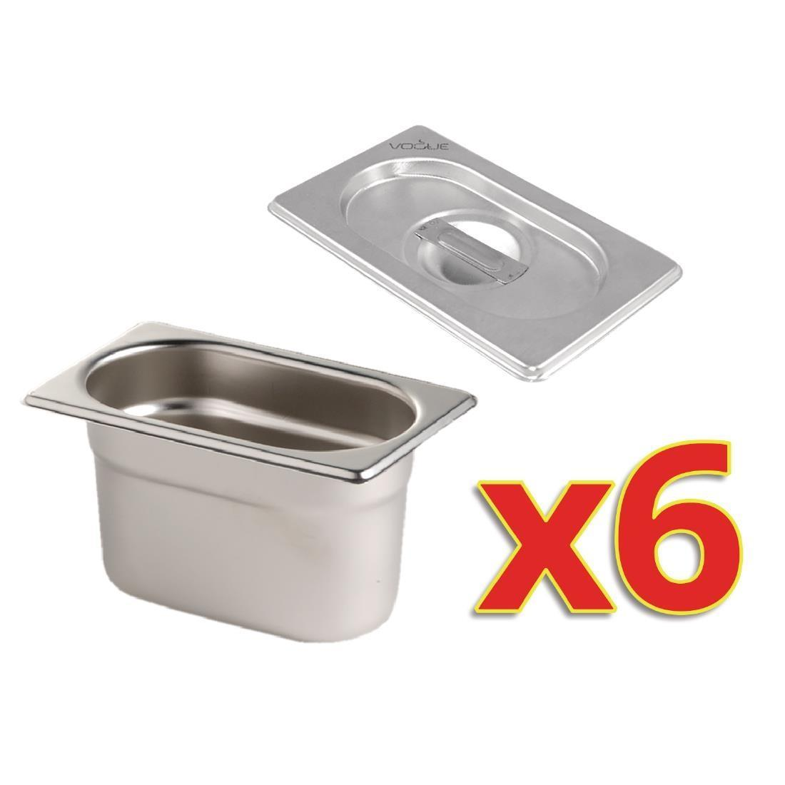 Vogue Gastronorm Pan Set with Lids 6 x 1/9 - S430