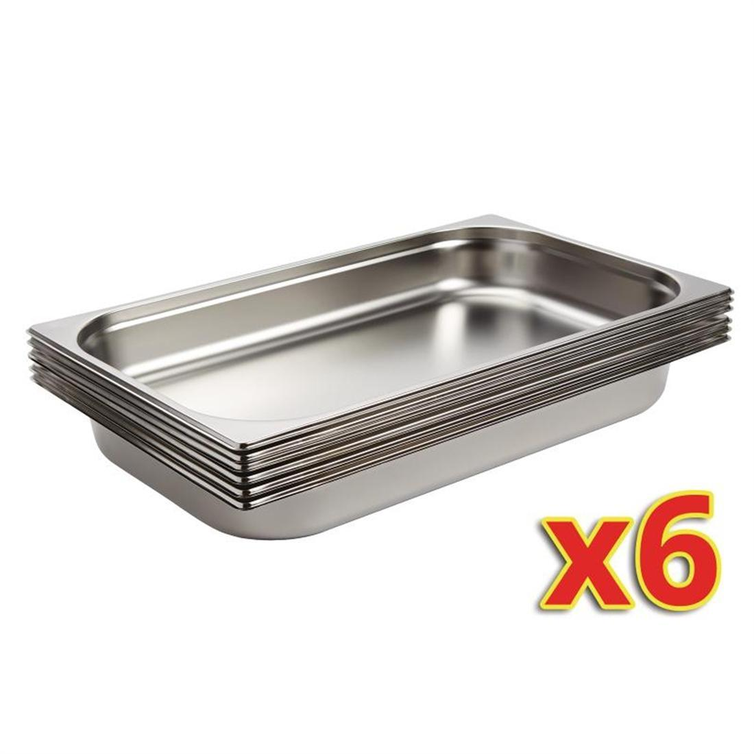 Vogue Stainless Steel 1/1 Gastronorm Pans 65mm Set of 6 - S895