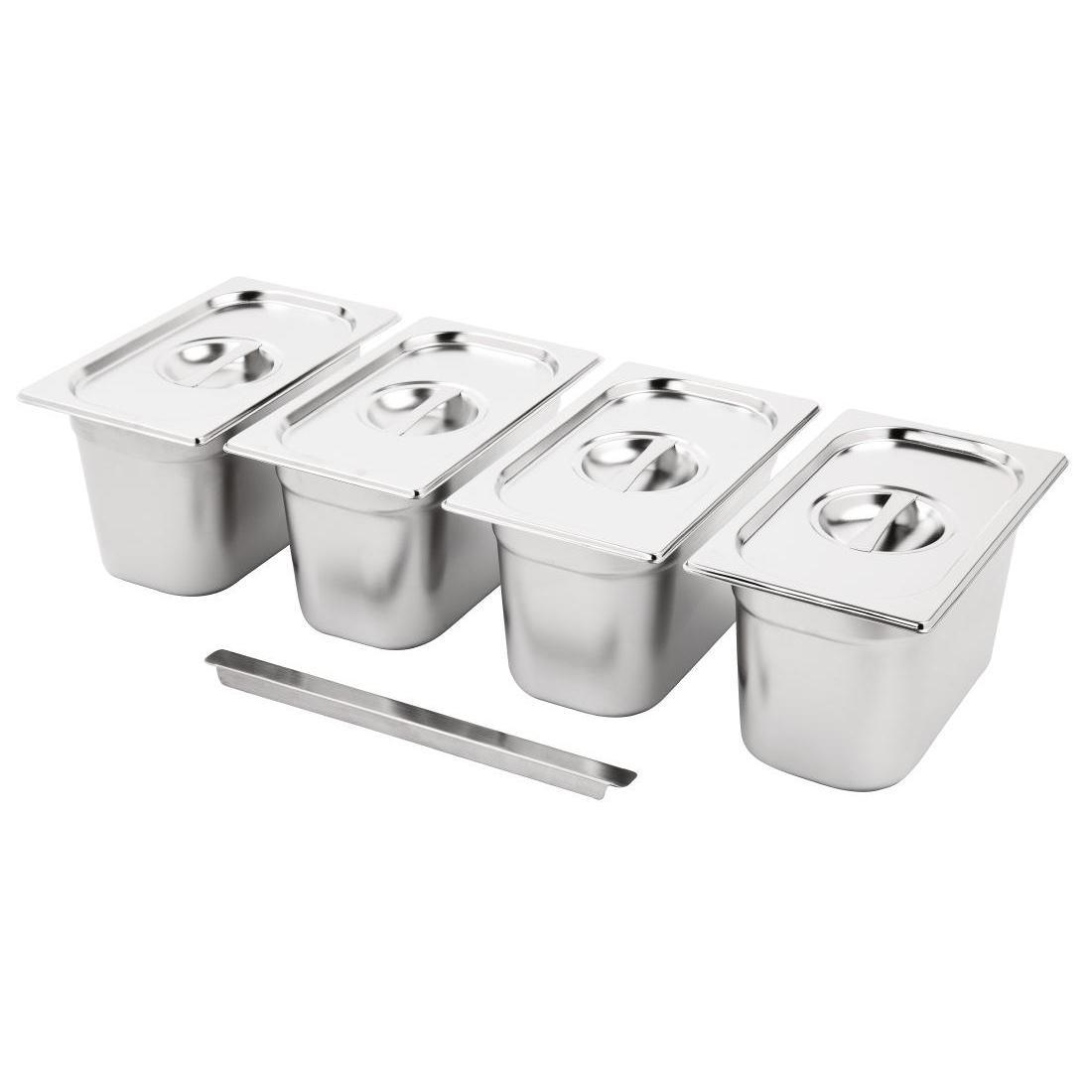 Vogue Stainless Steel Gastronorm Pan Set 4 1/4 with Lids - SA247