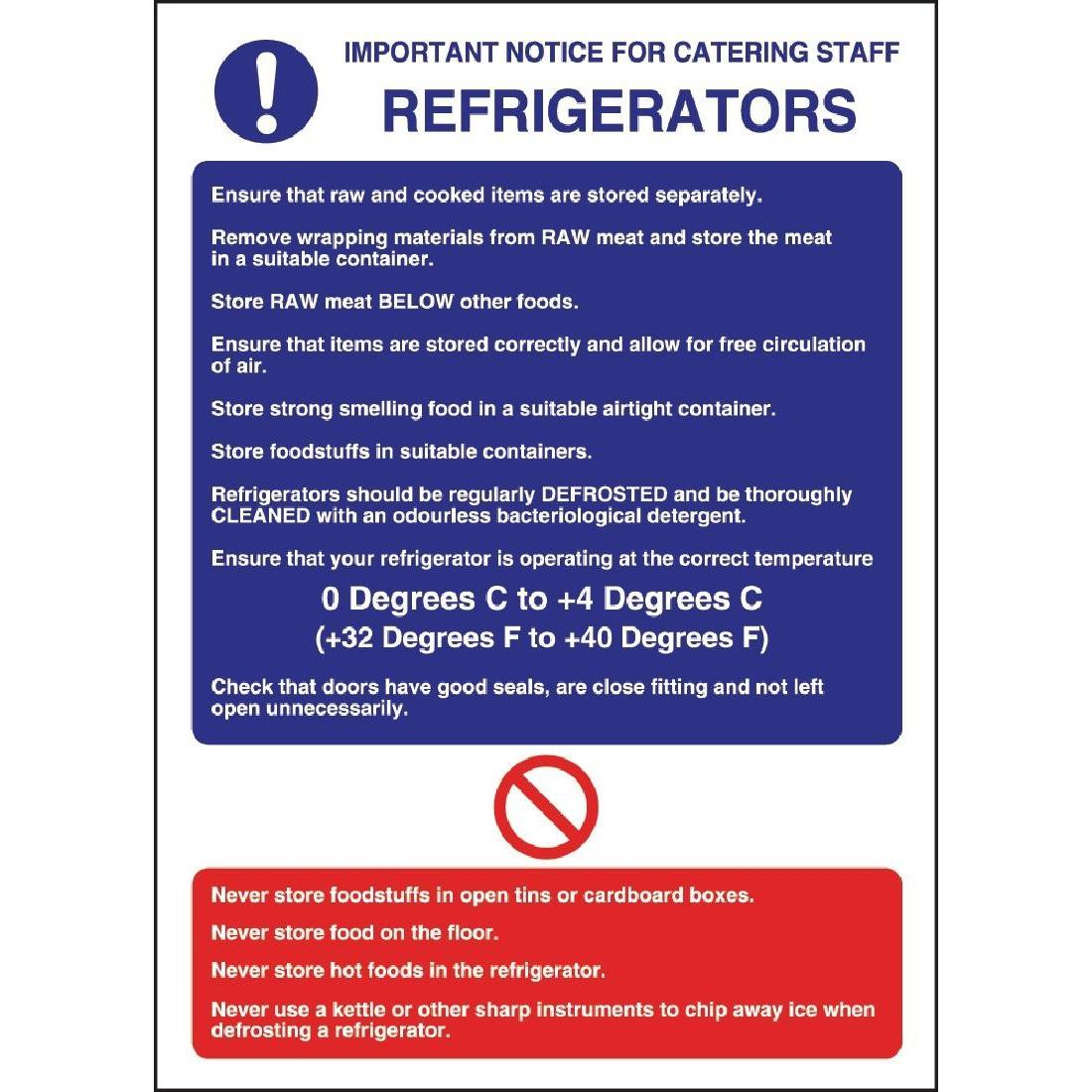 Vogue Refrigerator Guidelines Sign - W196