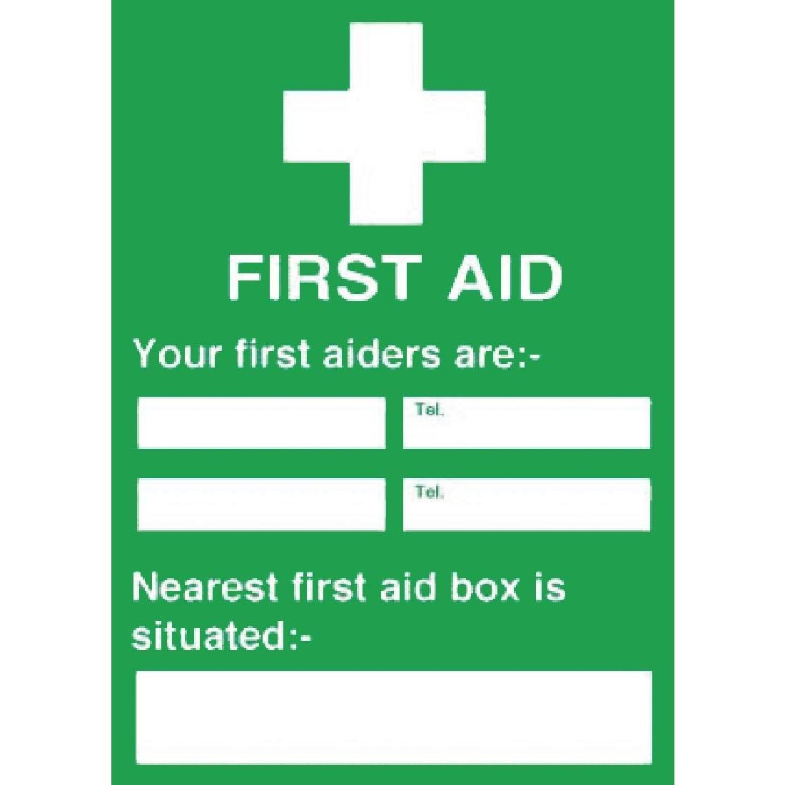 First Aiders Nearest First Aid Box Sign - Y922