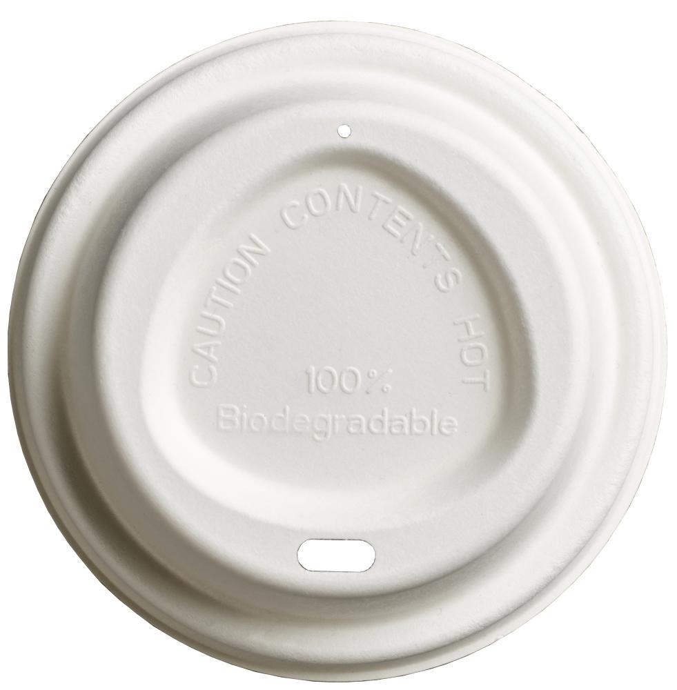 12oz-16oz White Bagasse Lids For Hot Cups, Home and Commercially Compostable