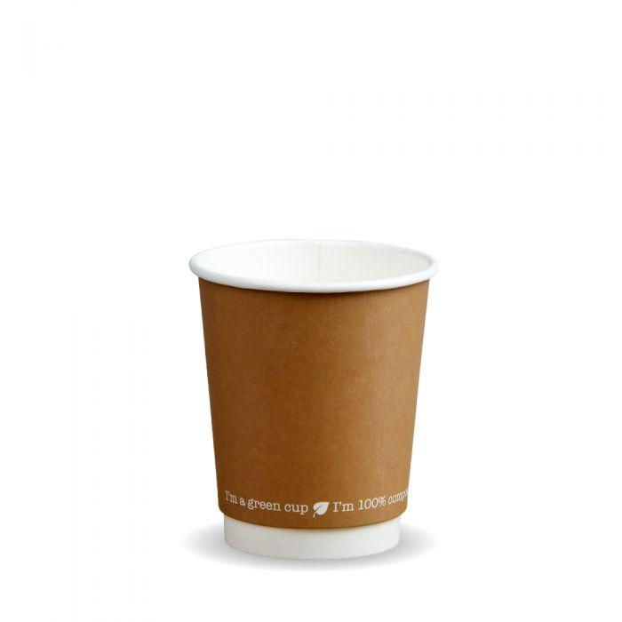 Kraft Compostable Hot Cups Double Wall 8oz