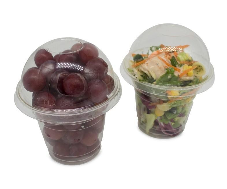 Domed Compostable Lids with No Hole to fit 9oz Tumblers with Compostable Message