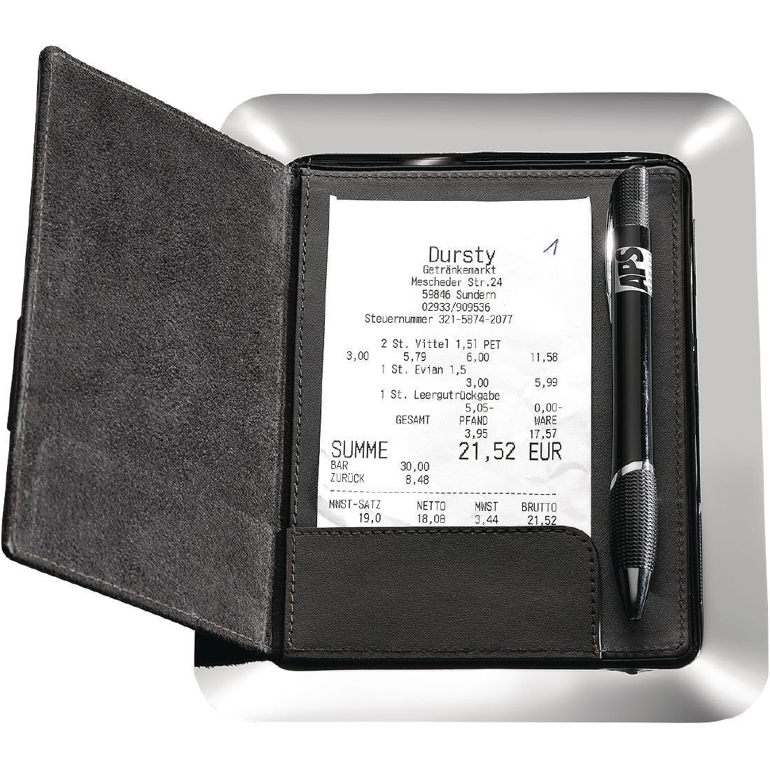 APS Stainless Steel and Leather Bill Presenter - Each - GH406