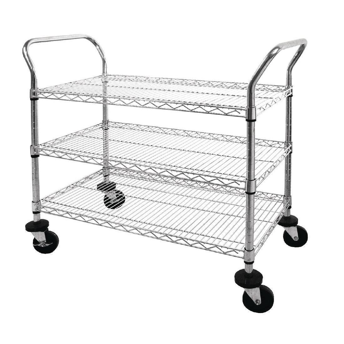 Vogue Chrome 3 Tier Wire Trolley - Each - CC432