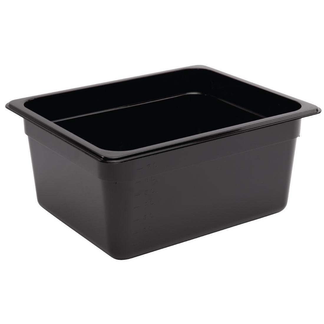 Vogue Polycarbonate 1/2 Gastronorm Container 150mm Black - U460