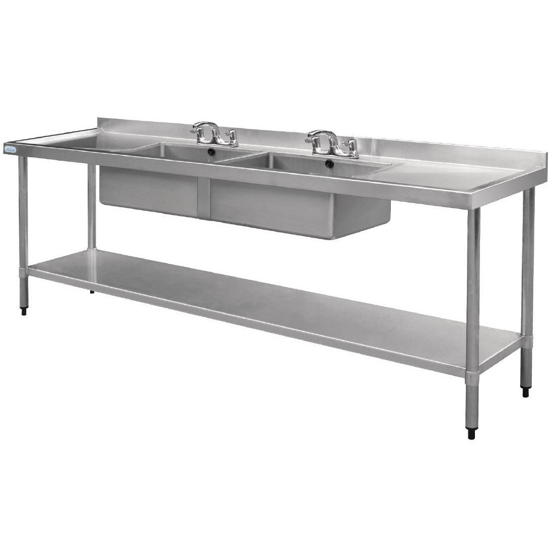 Vogue Stainless Steel Double Sink with Double Drainer 2400mm - U910