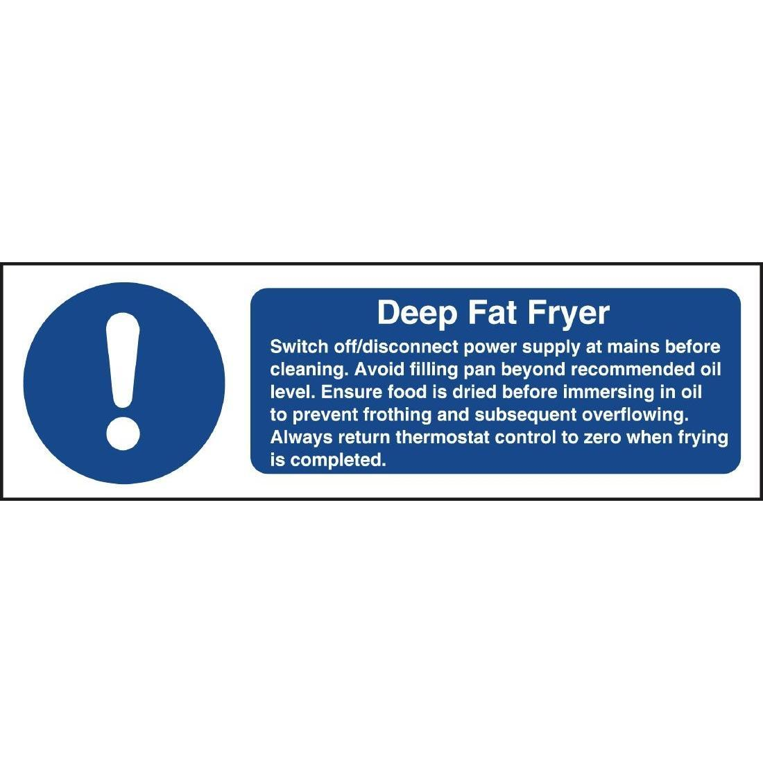 Vogue Deep Fat Fryer Safety Sign - W198