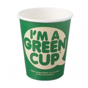 """I'm a Green Cup"" Compostable Hot Cups Single Wall 8oz"