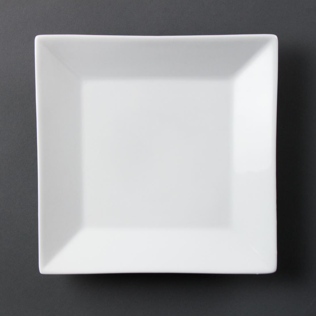 Olympia Whiteware Square Plates Wide Rim 250mm