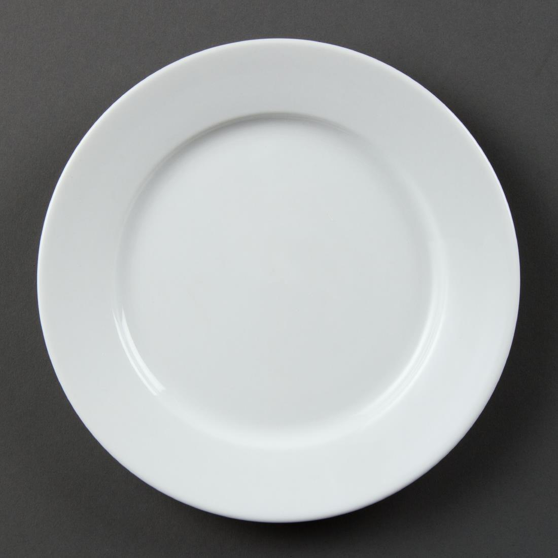 Olympia Whiteware Wide Rimmed Plates 202mm