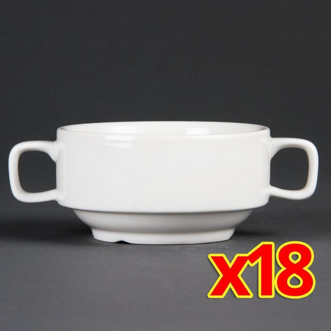 Bulk Buy Pack of 18 Olympia Handled Soup Bowls 400ml