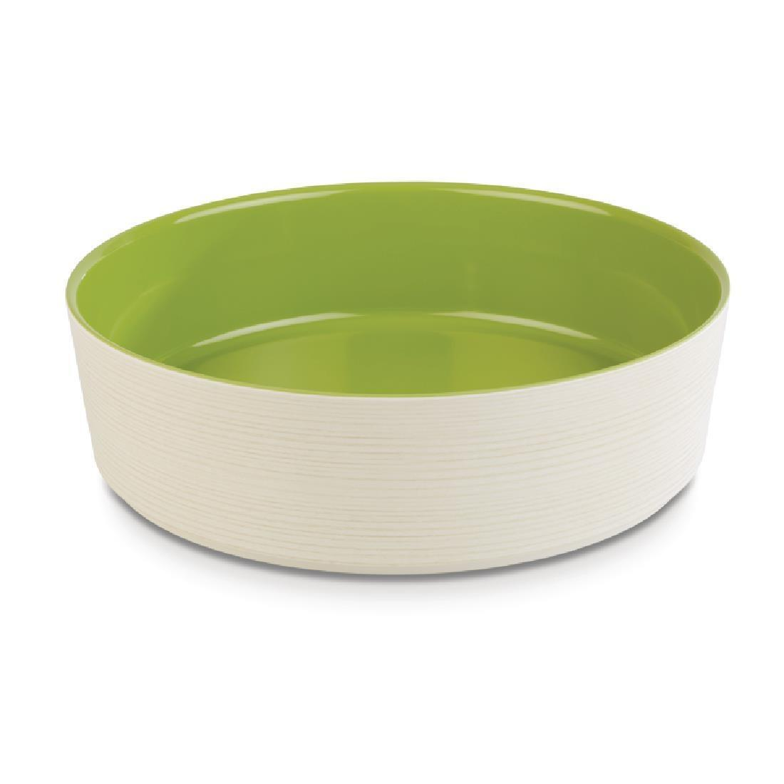 APS+ Melamine Round Bowl Maple and Green 4 Ltr - Each - DE568