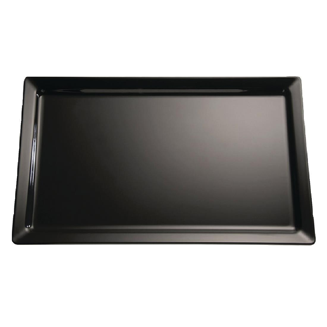 APS Pure Melamine Tray Black GN 1/4 - Each - GF127