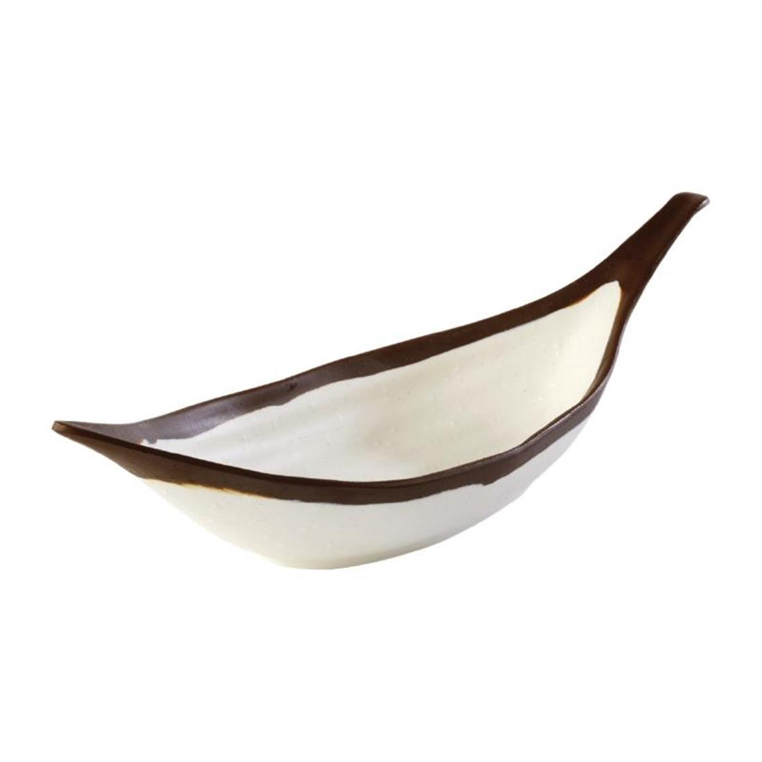 APS Crocker Leaf Bowl Cream. 305mm length - Each - HC733
