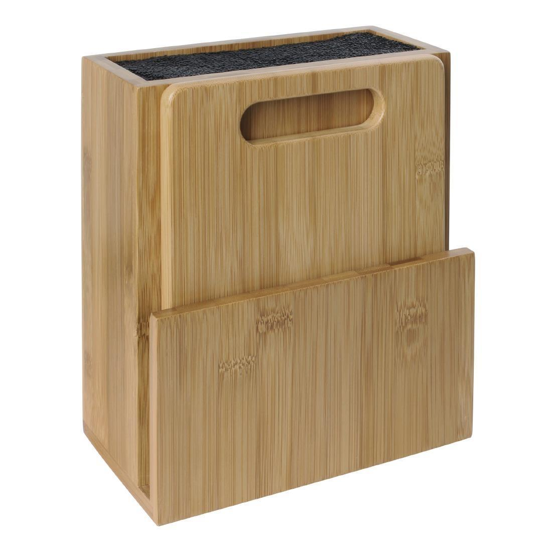 Vogue Wooden Universal Knife Block and Chopping Board - Each - CP863