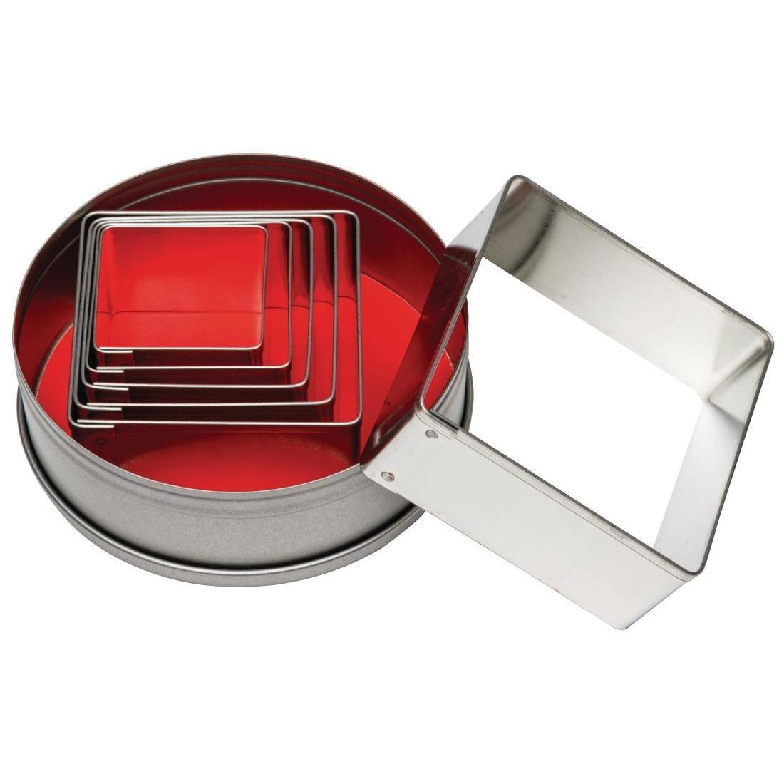 Vogue Square Plain Pastry Cutter Set - Case 6 - E017