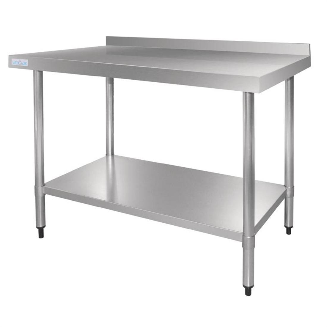 Vogue Stainless Steel Table with Upstand 1200mm - Each - GJ507